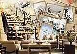 Fototapete 3D Effekt Nostalgisches Flugzeug Der Alten Foto-Schäbigen Treppe Moderne Wandtapete...
