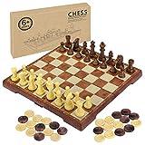 2 in 1 Schachspiel Magnetisch, Fixget Schachspiel Schachbrett mit Deluxe Magnetischem mit Figuren...