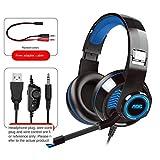 KAIXIN Kabelgebundenes Gaming-Headset PC USB 3,5-mm-Xbox / Ps4-Headset mit 50-mm-Treiber,...