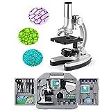 TELMU Mikroskop für Kinder und Anfänger, klein und hell Taschenmikroskop, 300X-600X-1200X, 70er...