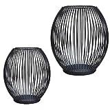 CPROSP Kerzenständer Schwarz 2er Set, 15 * 17/17 * 19cm, Vernetzartig aus Eisen, Kreativ Vintage...