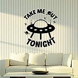 ganlanshu Vinyl Wandtattoo Alien Schiff lustig nehmen Sie Mich Heute Abend entfernbare Aufkleber...