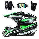 Motocross-Motorradhelm für Erwachsene mit Brillenmaskenhandschuhen, grünem Profi-Crosshelm,...