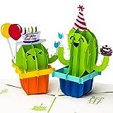 PrimePopUp | 3D Geburtstagskarte, Happy Birthday mit Kakteen, Pop up Karte, Grukarte,...