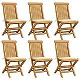 Festnight Gartenstühle 6 STK.Holz-Gartenstuhl Gartensessel Stuhl Sessel aus massivem Akazienholz...