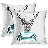 Ducan Lincoln Pillow Case Dekokissenbezüge Print Polyester Zippered Animal Dressed Up Deer In...