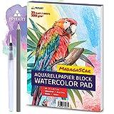 Tritart HOCHWERTIGES Aquarellpapier 300g | Din A4 | Weiß | 35 Blatt | Aquarellblock inkl. Water...