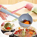 Biuday 2 in 1 Kitchen Hot Pot Suppenlöffel Sieb Daily Utile Cooking Tools Polos blau one Size