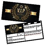 V.I.P EINLADUNG Kartenset XL (24 Stück) Premium Einladungskarten zum Ausfüllen - edel in Schwarz &...
