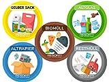 Resorti Aufkleber 5er Set für Abfall- und Mülltrennung mit kinderfreundlichen Symbolen (Restmüll,...