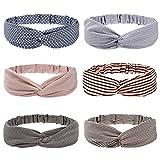 Folora 6pcs Mehrfarbige Twisted Criss Cross Elastic Stirnbänder Weiche Chiffon Haarbänder für...