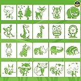 Tiermalerei Schablone 20 Stück Kinder Zeichenschablonen Tiere Malen Schablone Wiederverwendbare...