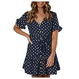 jieGorge  Damen Kleid AusverkaufVerkauf !!! Faltenrock Knielang Kleider Damenmode Bohe Dot Print...