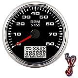Drehzahlmesser-Drehzahlmesser, 85 mm Marine Pointer Tachometer 8000 U/min...
