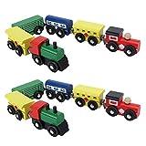 Changor 2 Set kleine Spielzeugeisenbahn-Montageblöcke, hölzerne Kutsche für die frühe Kindheit...