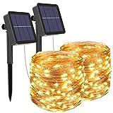 [2 Stück] Solar Lichterkette Aussen, Litogo 12M 120 LED Lichterkette Außen Wasserdicht KupferDraht...