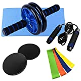 BBGSFDC 5 in 1 Home Gym Fitness Set Exercise Roller Roller Rad Ab Rad-Rolle 8 Form Resistance Band...