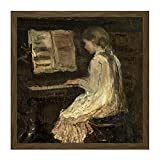 Jacob Maris Girl at The Piano Painting Square Wooden Framed Wall Art Print Picture 16X16 Inch...