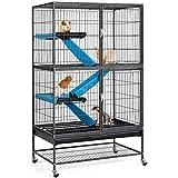 Yaheetech Kleintierkäfig, Metallkäfig für kleine Haustiere, Kaninchenstall mit 4 Räder, Käfig...