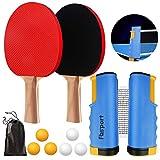 FBSPORT Tischtennis-Set, Tischtennisschläger-Set mit 2 Paddeln, 1 einziehbarem Netz, 6 Bälle, 1...