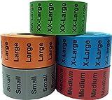 Etiketten, Farbcodierung, für Kleidungsgrößen, 32 x 127 mm, 5 Größen, 125 Stück