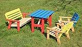 GartenDepot24 Kinder Sitzgarnitur 4-TLG. aus Holz, 2 Sthle, 1 Bank, 1 Tisch, farblich vorbehandelt