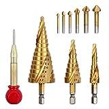tellaLuna 3 x Spiralnuten, 4 mm bis 32 mm, mehrere Löcher, 29 Größen, Stufenbohrer und 6 x...
