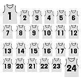 TopTie Basketball-Trikots mit den Nummern 1 bis 24, aus Nylon-Netzstoff, leicht, für...