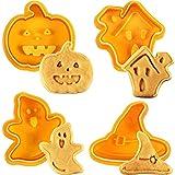 BUNRUN Halloween Ausstechform, 4 Stück Keks Ausstecher DIY Backform Ausstechformen Küchengeräte