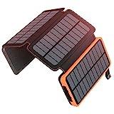 Solar Powerbank 25000mAh ADDTOP Tragbare Solar Ladegerät mit 4 Solarpanels, Outdoor wasserfester...