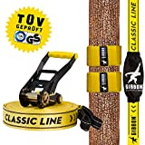 Gibbon Slacklines Classic Line mit Tree Pro, Gelb, 15 Meter (12,5m Band + 2,5m...