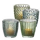 BigDean 4 Teelichtgläser in 4 verschiedenen Motiven - Grün lackierte Dessertgläser - Kerzenglas...