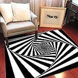 KFEKDT Geometrische schwarz-weiß Persönlichkeit Teppich Wohnzimmer Schlafzimmer Schlafzimmer...