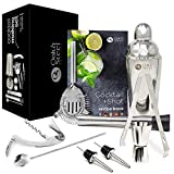 10 Stk Professionelles Cocktail Shaker Set +Cocktailbuch - Barstel, Messbecher, Barlffel,...
