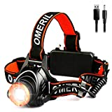 LED Stirnlampe Wasserdicht OMERIL LED Kopflampe USB Wiederaufladbare Headlight, Super Hell, Perfekt...