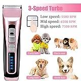 APoony 3-Geschwindigkeit Geringe Vibrationen Wiederaufladbare Haarschneidemaschine Hunde,...