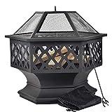 Merax Feuerstelle mit Grillrost, Feuerschale mit Funkenschutz Fire Pit für BBQ, Heizung, Garten...