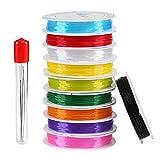 Naler 10 x Schmuckfaden Elastisch Gummifaden Mehrfarbig für Perlenschmuck Armbänder Basteln mit 6...