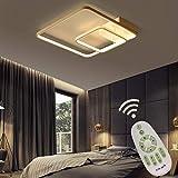 Erwa LED Deckenleuchte Dimmbar Esszimmer Schlafzimmer Lampe Fernbedienung, Modern Square Design...