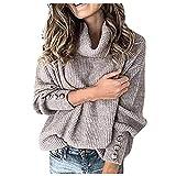NAQUSHA Damen Plus Size Strickpullover Herbst Winter Mode Freizeit Rollkragen Pullover Knopf Langarm...