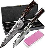 Zeuß Set Küchenmesser (32 cm und 24 cm) Damastmesser - Profimesser - Santoku - Kochmesser -...