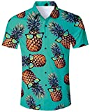 ALISISTER Hawaiihemd Herren Button Down Kurzärmliges Ananas Hemd Muster Funky Hawaii Shirts...