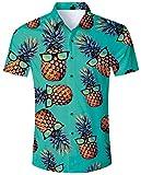 ALISISTER Hawaiihemd Herren Button Down Kurzrmliges Ananas Hemd Muster Funky Hawaii Shirts Beilufig...