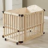 Babybetten aus Holz Dripex 65x100cm Baby Laufgitter Beistellbett Kinderbett mit Rollen,...