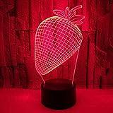 FMLLQXYD Nachtlicht 7 Farben Erdbeere 3D Lampe Schlafzimmer Dekor Touch Fernbedienung Led USB...
