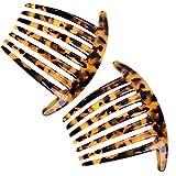 Französisch Twist 7 Zähne Schildkröte haarkämme steckkamm 10 cm Steckkämme Set von 2 Zelluloid...