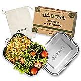 ECOYOU Premium Lunchbox aus Edelstahl - 1200 ml Brotdose inkl. Trennwand - Bentobox auslaufsicher...