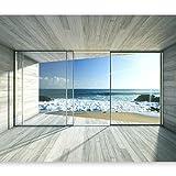 murando Fototapete Meer Fenster 400x280 cm Vlies Tapeten Wandtapete XXL Moderne Wanddeko Design Wand...