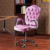 JXYu - Schreibtischstuhl für zu Hause, Samtrosa Home Office-Stuhl, mit ergonomischer Armlehne und...