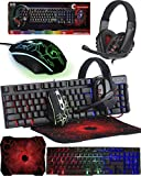 Orzly Tastatur Maus Set Gaming RX250 4 in 1 PC Pack Combo – RGB Hintergrundbeleuchtung Tastatur...